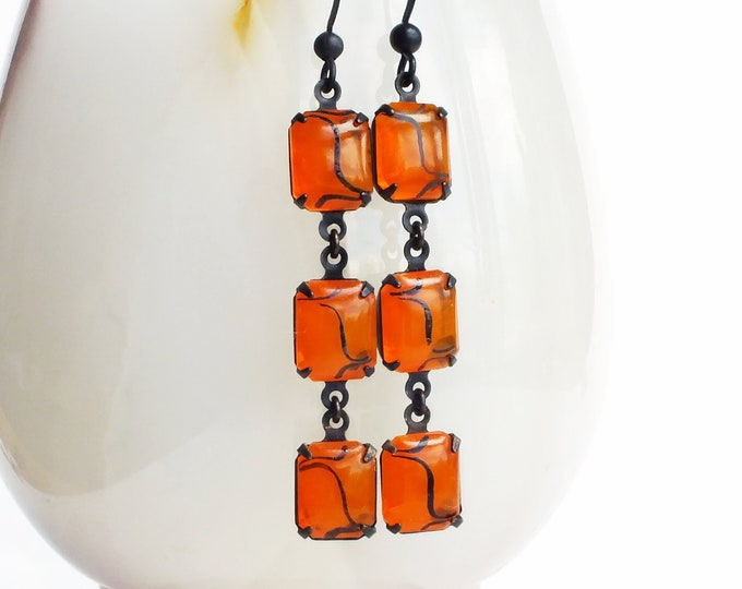 Orange Dangle Earrings Vintage Art Deco Clear Glass Rhinestone Tangerine Orange Glass Earrings