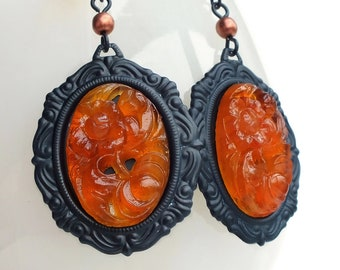 Large Statement Earrings Large Marmalade Orange Carved Glass Earrings Dangles Carved Glass Statement Jewelry