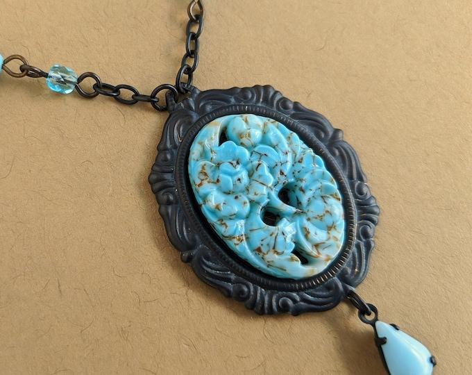 Glass Turquoise Necklace Vintage Glass Floral Pendant Aqua Blue Flower Necklace Turquoise Jewelry Boho Necklace Light Blue Jewelery