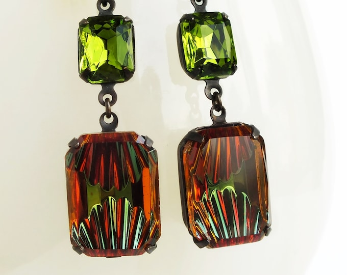 Amber Olive Crystal Earrings Art Deco Dangle Earrings Vintage Reverse Carved Rhinestone Earrings Green Topaz Art Deco Jewelry Autumn Fall