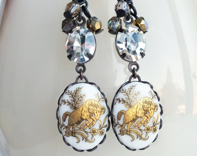 Aries Cameo Dangle Earrings Victorian Astrology Jewelry Aries Zodiac Vintage Cameo Jewelry