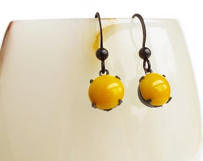Small Yellow Glass Earrings Autumn Fall Mustard Yellow Dangle Earrings Black Oxidized Metal Yellow Glass Dangles Autumn Jewelry