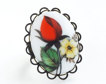 Red Rose Cameo Ring Large Vintage Glass Victorian Rose Ring Floral Cameo Jewelry