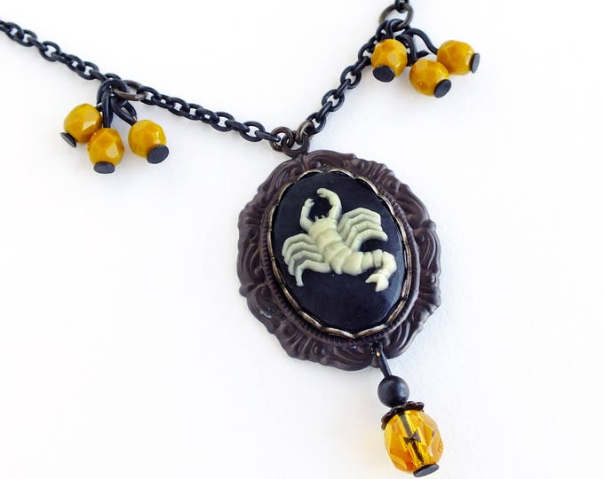 Scorpio Zodiac Cameo Necklace Vintage Black Astrology Cameo Pendant Jewelry Zodiac Victorian Astrology Black Mustard Necklace