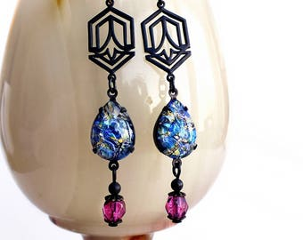 Blue Glass Opal Dangle Earrings Vintage Glass Harlequin Fire Opals Art Deco Jewelry Blue Pink Glass Dangles Gift For Her Something Blue