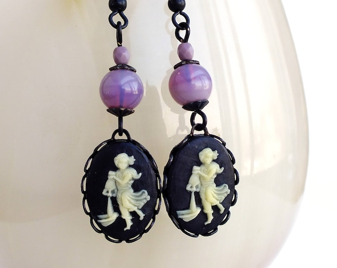 Aquarius Zodiac Earrings Vintage Victorian Astrological Cameos Black Gold Astrology Jewelry February Birthday