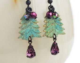 Christmas Tree Earrings Verdigris Rhinestone Earrings Green Purple Jewelry Holiday Christmas Earrings