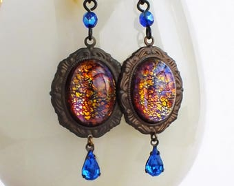 Dragons Breath Opal Earrings Vintage Iridescent Glass Orange Mexican Fire Opal Victorian Opal Jewelry