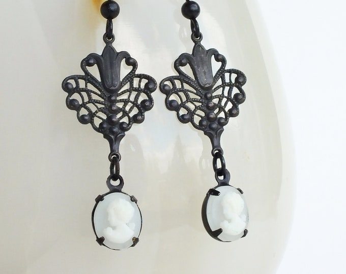 Small Cameo Earrings Victorian Frosted White Cameo Earrings Brass Filigree Earrings Victorian Jewelry Bridal Wedding Dangle Earrings