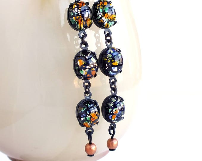 Multi Colored Glass Dangle Earrings Vintage Foiled Lampwork Cabochon Dangles Long Black Glass Dangle Earrings