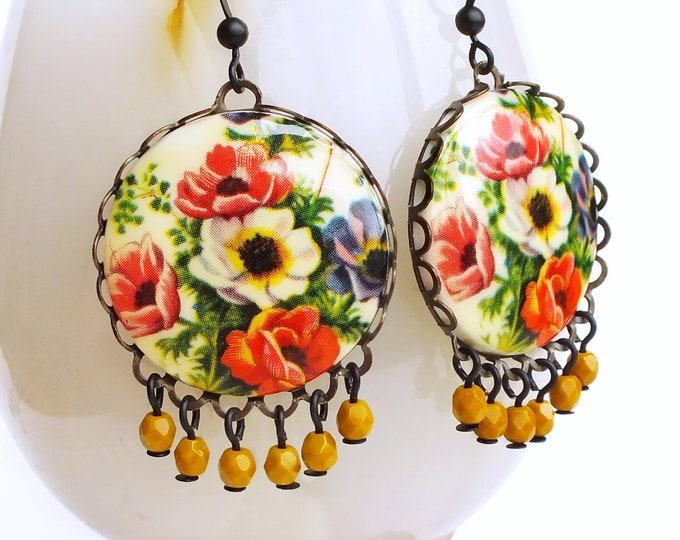 Large Floral Chandelier Earrings Vintage Flower Poppy Earrings Poppy Jewelry Statement Victorian Earrings