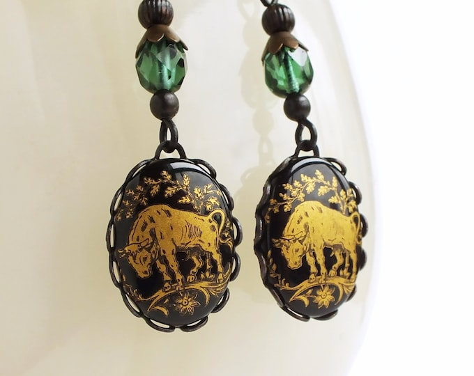 Taurus Dangle Earrings Victorian Astrology Jewelry Taurus Zodiac Vintage Astrology Cameo Jewelry