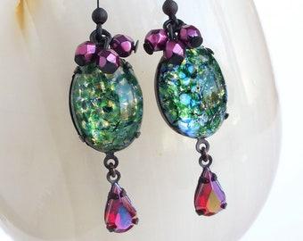 Green Glass Opal Earrings Glass Emerald Dangle Earrings Vintage Green Glass Earrings Glass Fire Opal Statement Jewelry