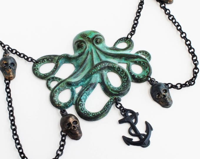 Large Octopus Necklace Verdigris Octopus Large Green Patina Cthulhu Pendant Black Skull Halloween Jewelry