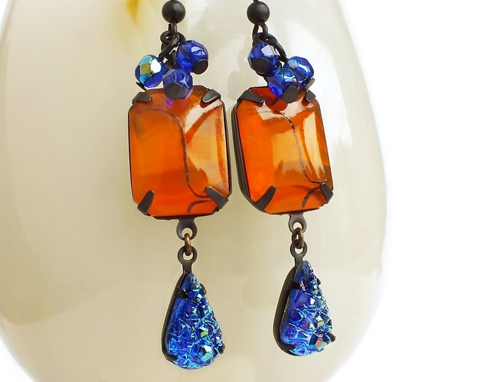 Orange Blue Dangle Earrings Vintage Art Deco Tangerine Rhinestone Earrings Lampwork Jewelry Blue Crystal Earrings Orange Glass