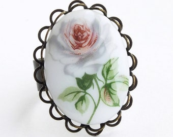 Victorian Rose Cameo Ring Vintage Glass White Rose Limoge Victorian Rose Jewelry Gift For Her