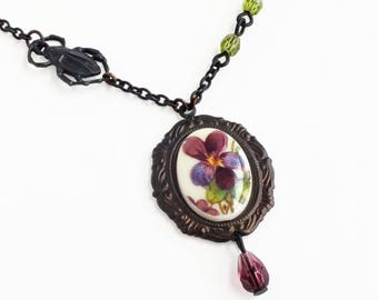 Purple Pansy Flower Cameo Necklace Vintage Violet Floral Cameo Pendant Necklace Victorian Pansy Jewelry Gardener Gift
