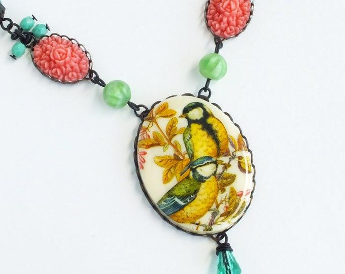 Bird Rose Cameo Necklace Large Vintage Bird Pendant Yellow Pink Green Victorian Statement Bird Jewelry
