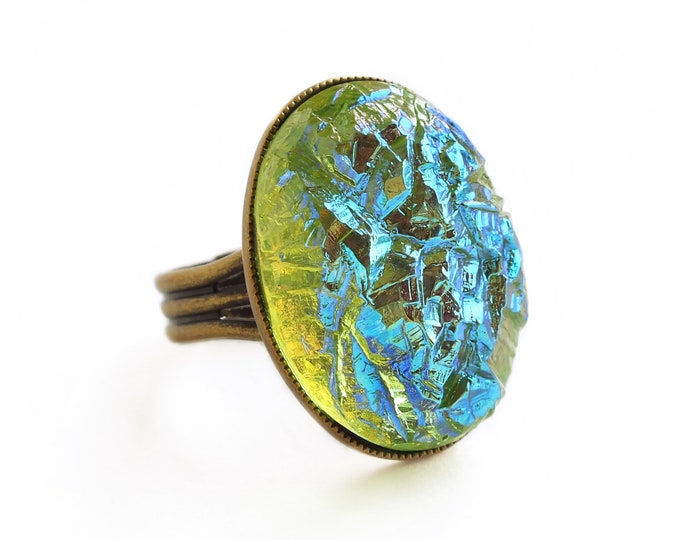 Chunky Iridescent Green Ring Large Green Glass Crystal Ring Green Crystal Druzy Jewelry