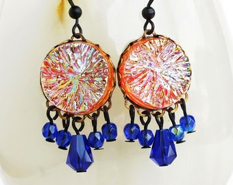 Iridescent Chandelier Dangle Earrings Orange Blue Glass Crystal Dangles Vintage Colorful Iridescent Jewelry Glamorous Statement Earrings