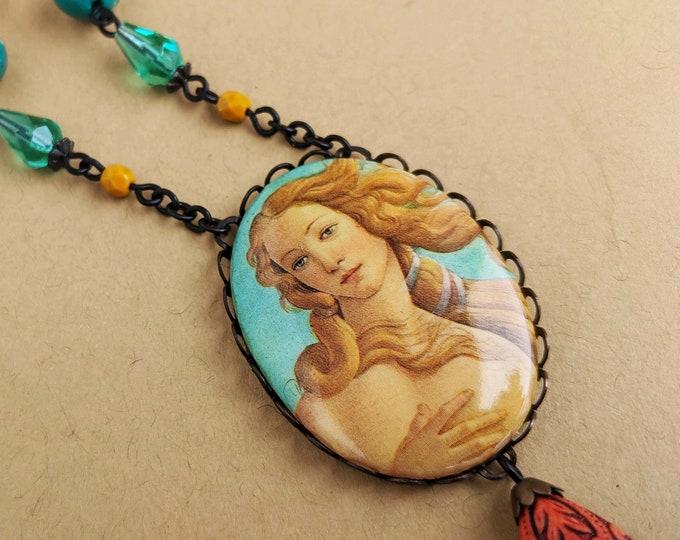 Venus Necklace Large Vintage Renaissance Oil Painting Cameo Pendant Fine Art History Jewelry Sea Foam Green Yellow