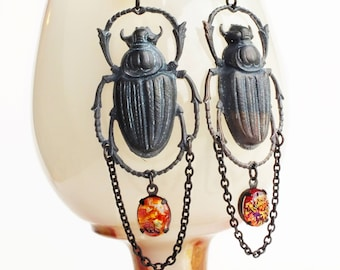 Large Beetle Earrings Black Brass Scarab Dangles Huge Insect Earrings Chunky Dragons Breath Opal Earrings Beetle Jewelry Statement Earrings