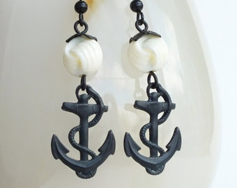 Anchor Earrings Black Brass Vintage Knot Beads Black White Nautical Retro Sailor Jewelry