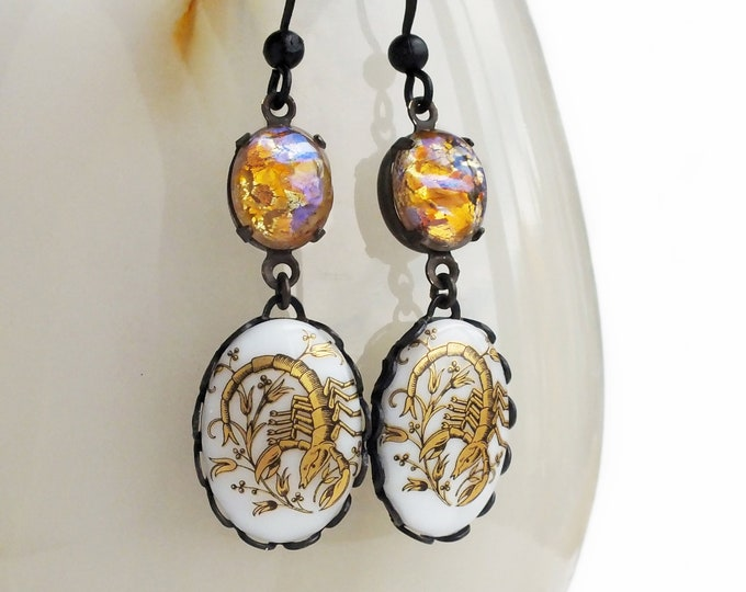 Opal Scorpio Dangle Earrings Victorian Astrology Earrings Zodiac Scorpion Vintage Zodiac Jewelry Scorpio Astrology Jewelry