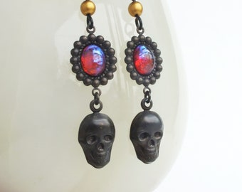 Black Skull Earrings Vintage Glass Dragons Breath Opal Earrings Black Brass Gothic Creepy Skull Jewelry Glass Dragons Breath