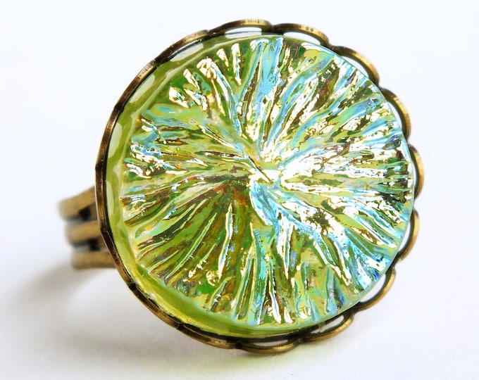 Iridescent Green Glass Ring Vintage AB Crystal Ring Lime Green Cocktail Ring Statement Jewelry