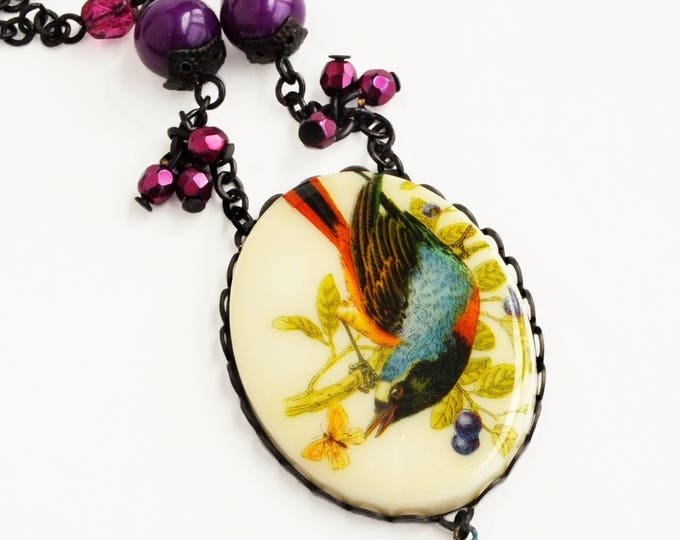 Colorful Bird Pendant Necklace Large Vintage Blue Purple Cameo Necklace Bird Jewelry Spring Statement Necklace