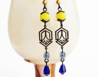 Blue Yellow Art Deco Earrings Long Beaded Dangles Earrings Vintage Beads Art Deco Jewelry Yellow Royal Blue