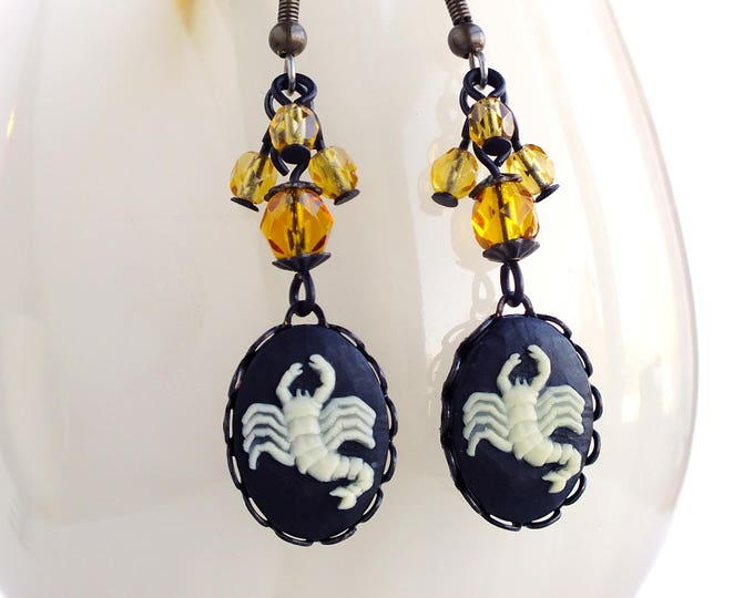 Scorpio Zodiac Earrings Victorian Astrology Cameo Earrings Scorpion Vintage Victorian Zodiac Jewelry Scorpio Astrology Jewelry