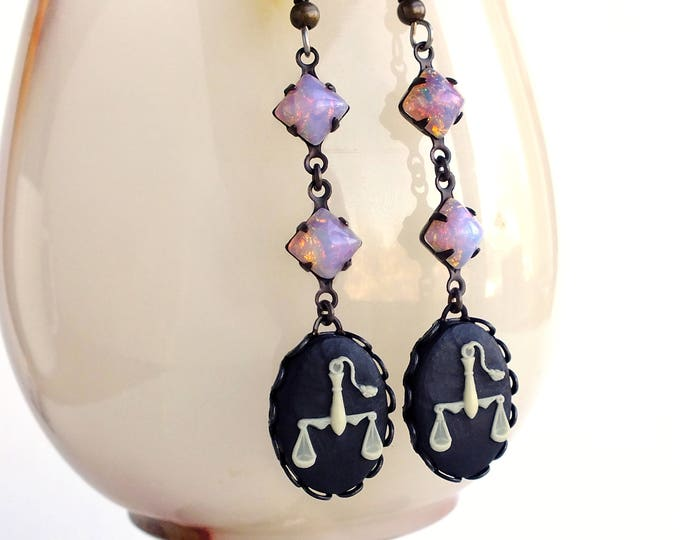 Libra Zodiac Opal Earrings October Birthday Victorian Astrology Cameo Earrings Victorian Zodiac Jewelry Libra Gift for Her