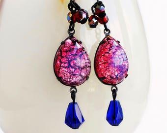 Hot Pink Opal Dangle Earrings Vintage Glass Fire Opal Dangles Hot Pink Royal Blue Red Glass Statement Earrings Opal Jewelry