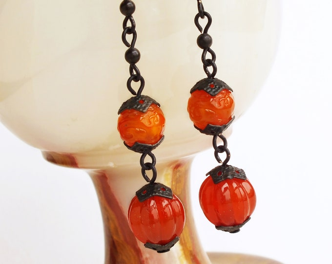 Red Orange Drop Dangle Earrings Vintage Lucite Orange Red Beads Long Chain Earrings Dangles