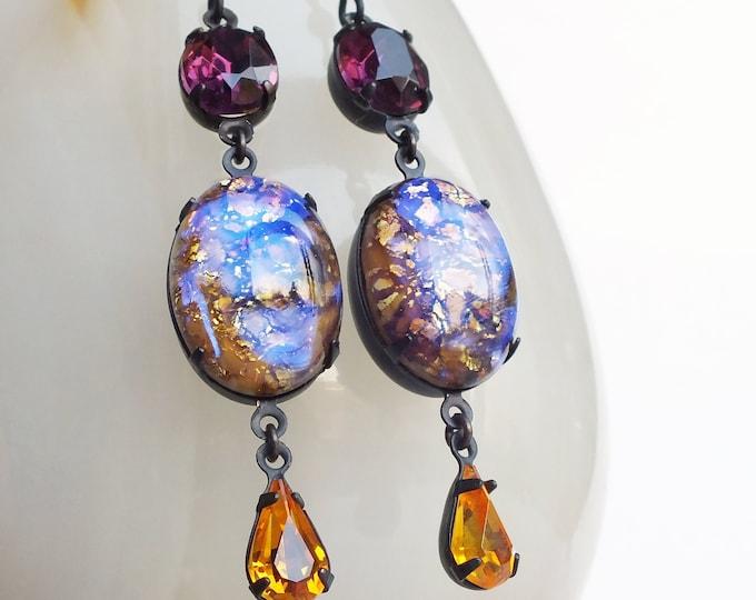 Topaz Amethyst Opal Earrings Vintage Glass Harlequin Fire Opal Earrings Topaz Amethyst Glass Earrings Victorian Jewelry