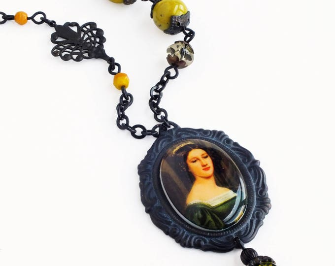 Green Woman Portrait Painting Necklace Vintage Oil Painting Cameo Pendant Necklace Fine Art History Jewelry