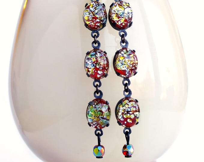 Colorful Glass Lampwork Dangle Earrings Red Silver Foiled Vintage Glass Stone Earrings Red Foil Earrings Long Red Glass Dangles