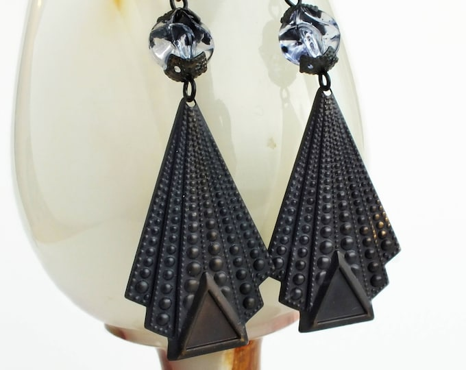 Large Art Deco Earrings Geometric Oxidized Brass Triangle Earrings Antique Brass Dangles Art Deco Geometric Jewelry