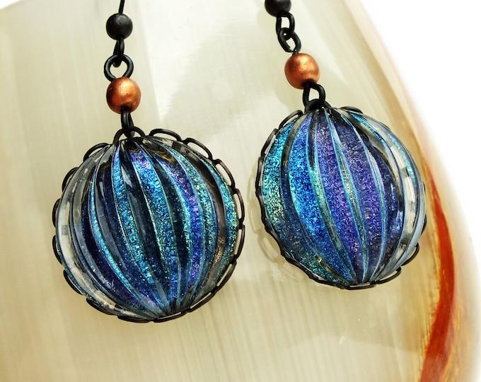 Large Purple Glitter Earrings Iridescent Nail Polish Jewelry Iridescent Purple Glitter Earrings Statement Jewelry