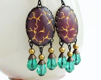 Amethyst Chandelier Earrings Large Purple Green Dangles Earrings Glamorous Statement Jewelry Vintage Matte Glass Gold Crackle Earrings