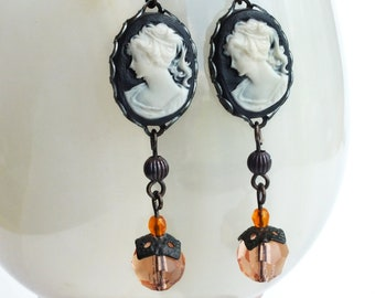 Black Cameo Earrings Vintage Lady Portrait Cameo Dangles Peach Black Victorian Cameo Jewelry