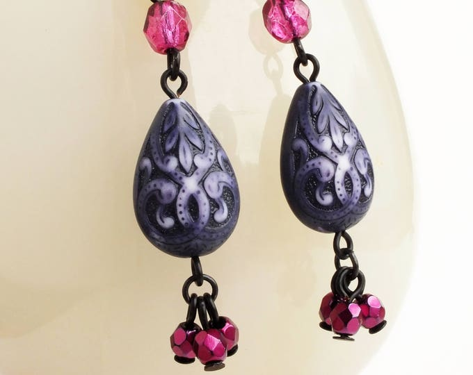 Beaded Purple Carved Drop Earrings Ornate Purple Beaded Dangle Earrings Victorian Purple Jewelry
