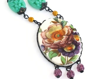 Purple Green Floral Necklace Victorian Floral Cameo Pendant Necklace Spring Flower Statement Jewelry