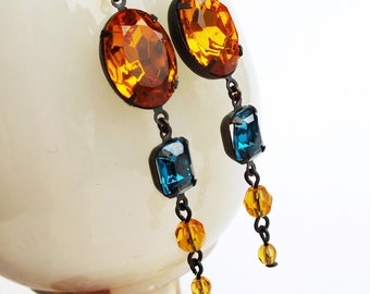 Topaz Teal Rhinestone Dangle Earrings Long Vintage Glass Rhinestone Earrings Topaz Teal Green Jewelry Autumn Fall