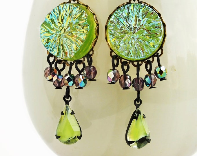 Lime Green Crystal Chandelier Earrings Green Purple Glass Dangles Vintage Iridescent Glass Cabochon Jewelry Glamorous Statement Earrings