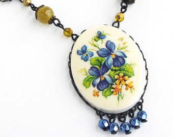 Blue Flower Cameo Necklace Vintage Violet Pansy Blue Floral Pendant Victorian Pansy Jewelry Blue Floral Necklace