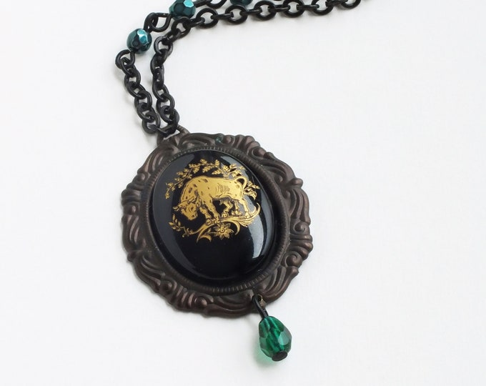 Taurus Pendant Necklace Zodiac Astrology Jewelry Vintage Taurus Cameo Victorian Astrology Black Gold Green Necklace
