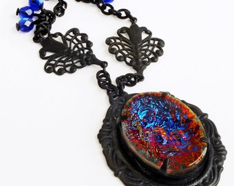 Iridescent Rainbow Crystal Necklace Luxe Statement Jewelry Vintage Iridescent Glass Jewels Glamorous Victorian Vitrail Jewelry